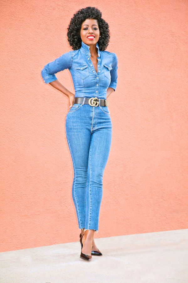 Fitted Denim Shirt   High Waist Jeans