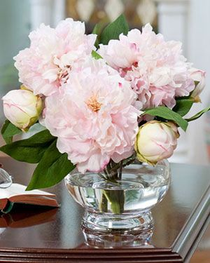 silk flower centerpieces peonies and silver | Pink Silk Peony Centerpiece & Artificial Table Arrangement