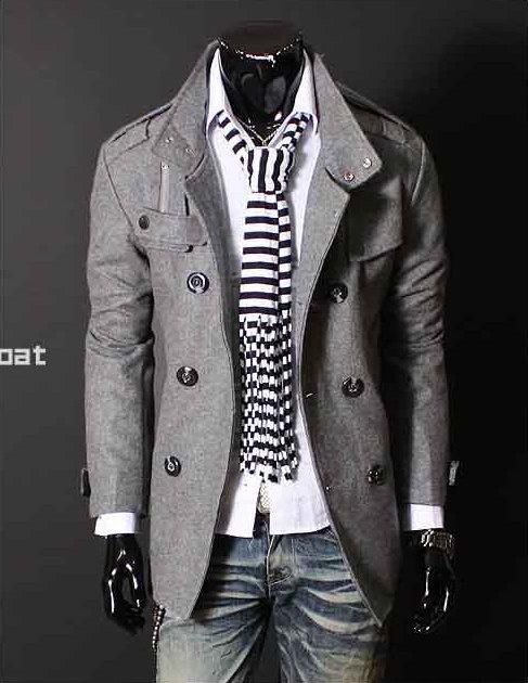 Men's pea/trenchcoatMenfashion, Clothing, Double Breast, Men Style, Jackets, Men Fashion, Scarves, Grey, Trench Coats