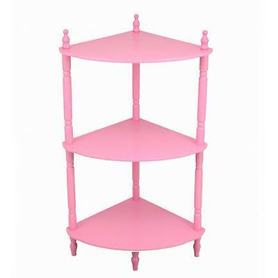 NEW-Pink-Wooden-Corner-Etagere-3-Shelf-Plant-Stand-Curio-Decor-Display-Storage