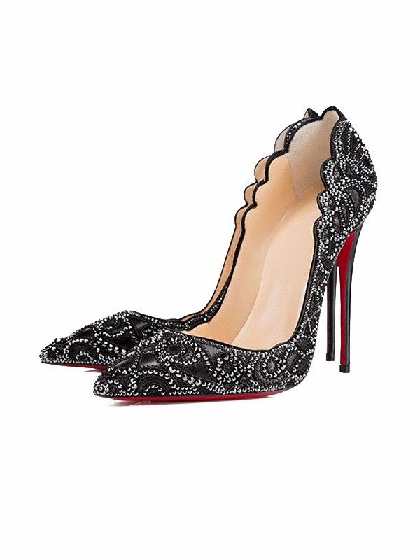 [ad] Add dazzle to a LBD with the Black Rhinestones Decoration Pointed Court Shoes.