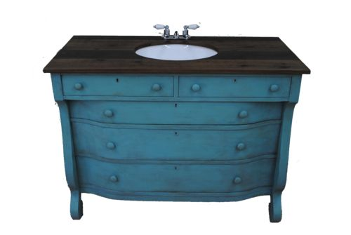 Upcycled Bathroom Ideas: Annie Sloan Chalk Paint. An Antique Dresser Upcycled Into