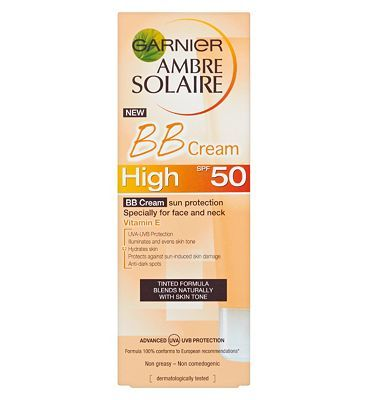 #Ambre Solaire Garnier Ambre Solaire BB Cream Sun Protection #24 Advantage card points. Ambre Solaire BB Sun Cream Face and Neck SPF50, especially for the face and neck. Enriched with Vitamin E. Tinted formula - blends naturally with your skin tone. FREE Delivery on orders over 45 GBP. (Barcode EAN=3600541274709)