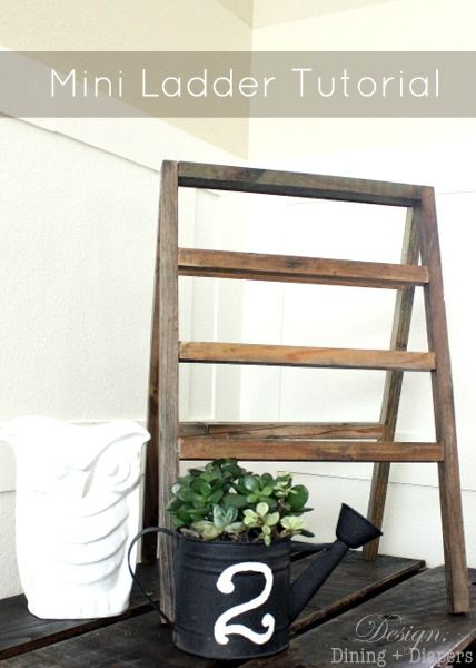 Mini Ladder Tutorial from designdininganddiapers.com #diy #ladders #reclaimedwood