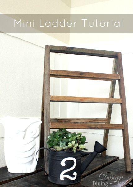 Mini Ladder Tutorial from designdininganddiapers.com #diy #ladders #reclaimedwood
