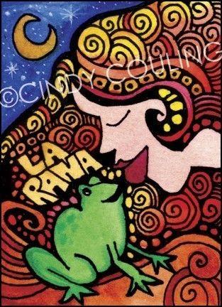 La Rana / The Frog Loteria ATC / ACEO Artist Trading Card Print. via Etsy.