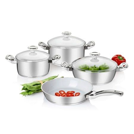 Bernardo Shiny Seramik Kaplama Çelik Tencere Seti / Cooking Pot and Pan Set #bernardo #kitchen #mutfak #cooking #yemek #steel