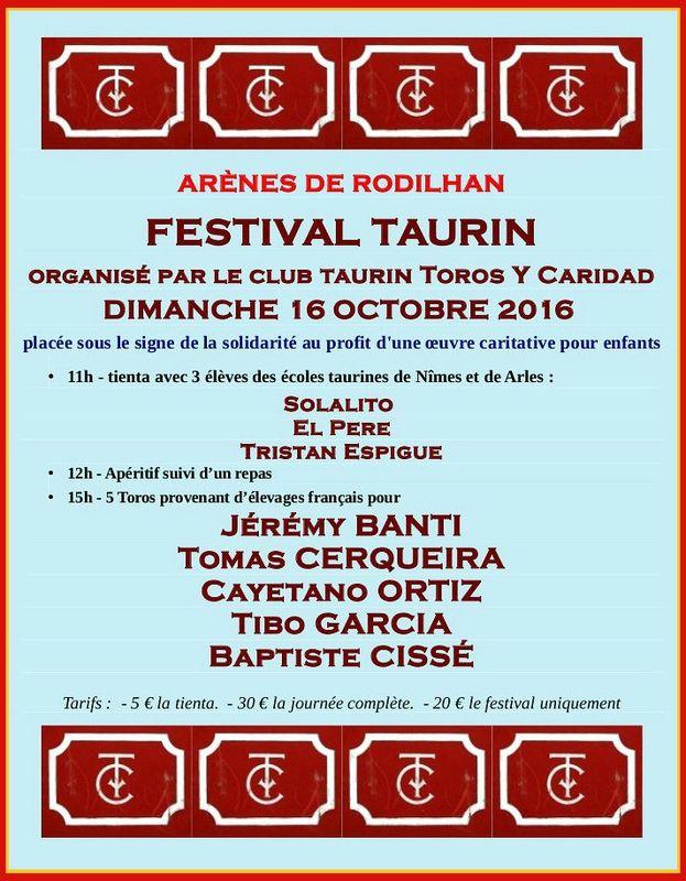 Rodilhan 2016 - Le programme de la journée de solidarité du 16 octobre