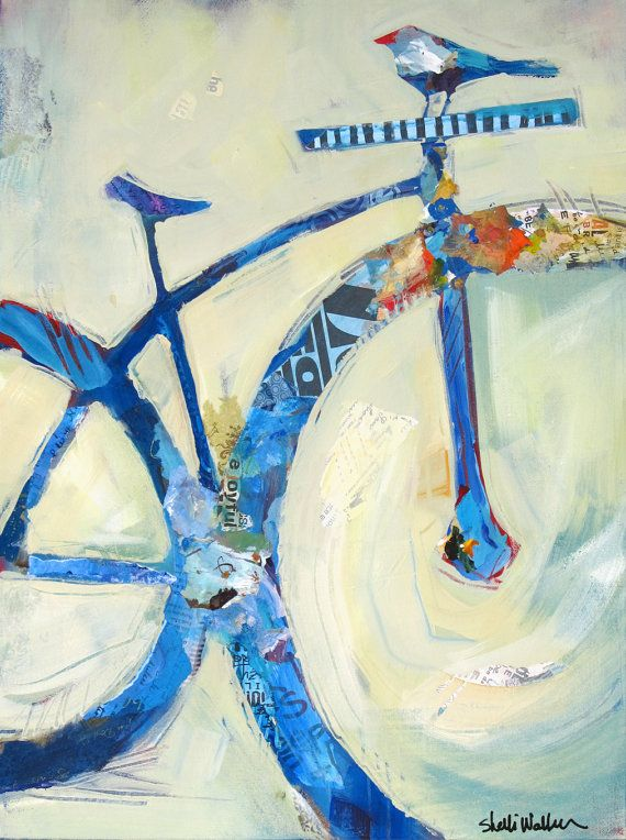 Blue Mountain Bike Original Painting by ShelliWalters on Etsy