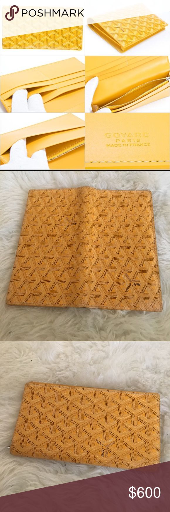 Goyard Wallet Authentic Goyard yellow long bifold wallet (unisex). The yellow products in Goyard are normally priced higher. This was purchased in the Goyard in Saint Honoré, Paris. Pre-owned by me. The slightly used parts shown in the photo can later easily be fixed in any Goyard shop. Open to any price offers. I priced it over 500 so you can receive the authenticity test, but you are welcome to offer lower prices! Goyard Accessories
