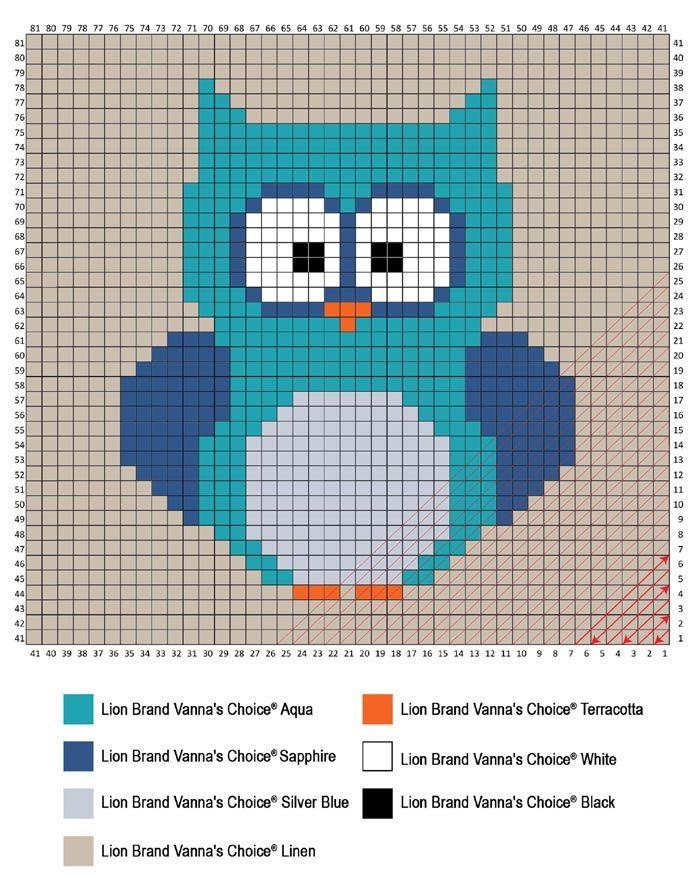 Crochet Motif gratuit BabyOwl Owl Coin Bébé à Corner (C2C) Couverture: Lion Brand Yarn Company