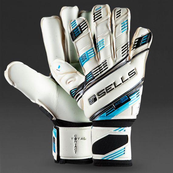 Sells Total Contact Aqua Elite GK Gloves - White/Black/Sky