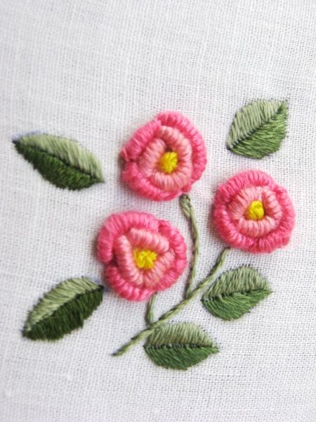 Bullion Roses. Small and cute pattern which can be used in variety of ways, like pockets, jam covers, linen, endless possibilities!