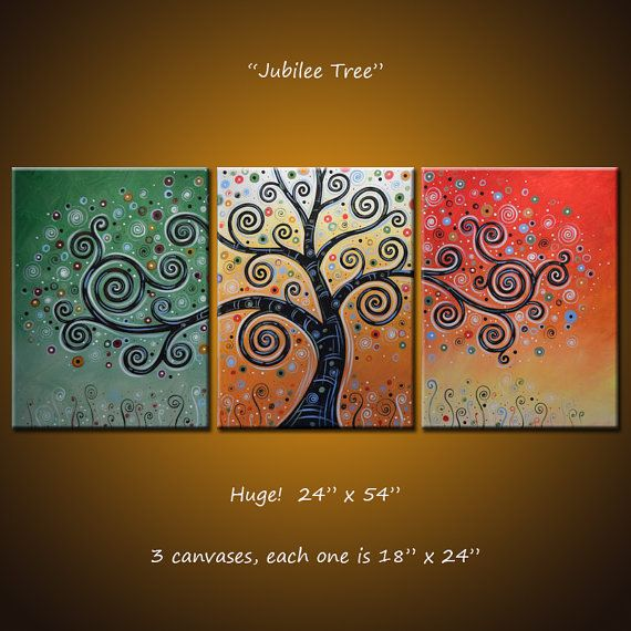 "Amy Giacomelli Wall Triptych Original Large Abstract Painting Modern Contemporary Trees Landscape ...24"" x 54""... ""Jubilee Tree"""