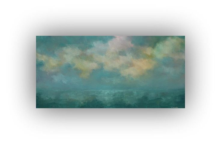 Excited to share the latest addition to my #etsy shop: Ocean Painting, Blue and Yellow Abstract Seascape, Original Palette Knife Art on Canvas, 15 x 30 Sky and Clouds Oil Painting