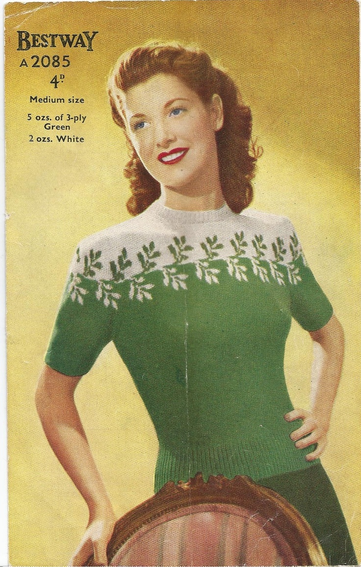 BETWAY 2085 LADIES 40'S FAIR ISLE GREEN JUMPER TOP     CIRCA 40'S 2 COLOUR FAIR ISLE LEAF YOKE JUMPER     To suit a 33 - 35 inch bust size     Materials guide:     3ply  - 5 oz green  / 2 oz white , size 10 and 12 knitting needles and 3 and a half sip fastner or 3 buttons for back neck fastening.     Why not also view our little girls Fair Isle jumper for Mother and Daughter matching set!