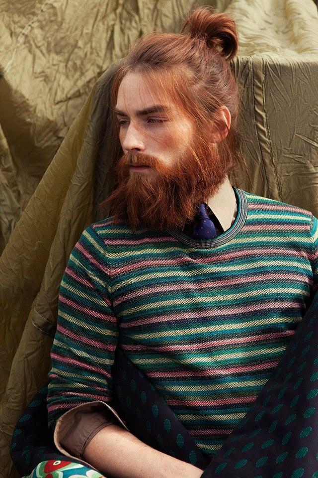 man redhead long hair beard bun