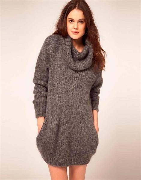 Вязанные длинные свитера для беременных со схемами