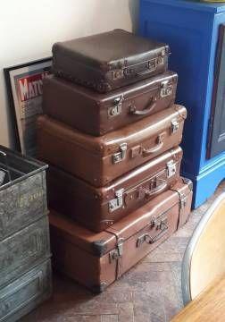 Valise ancienne cuir et en fibres vulcanisées Vintage