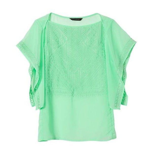 Banana Republic Women Factory Embroidered Flutter Sleeve Top ($24) ❤ liked on Polyvore featuring tops, green camisole, sheer embroidered top, cami tops, embroidered top and green cami top