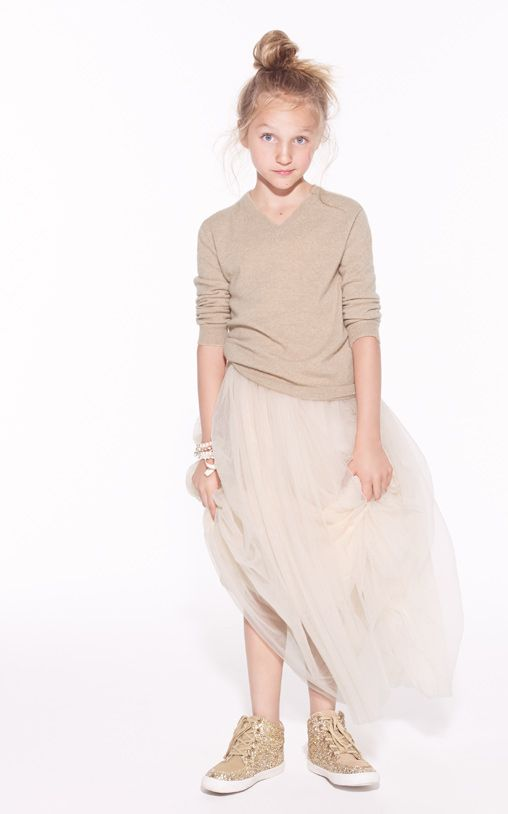 Tulle, sneaks and a sweater in Look 1 of J.Crew's Marshmallowy Mash-ups AW '15