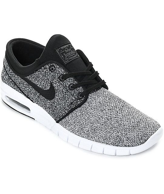 Re-introduced with a subtle new two toned soft woven textile upper, the Nike SB Janoski Max White, Black and Dark Grey Skate Shoes have a rich bloodline built from the best of Nike technology. These shoes have a Max Air Unit for heel protection, an EVA so