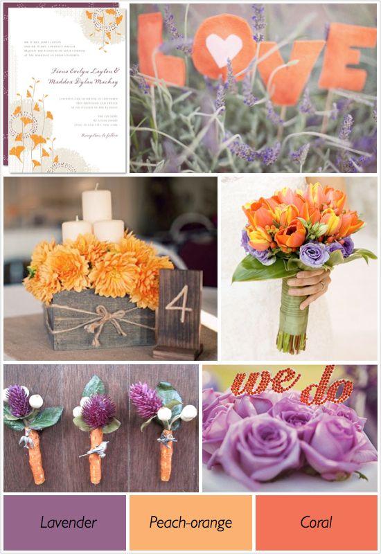 lavender, peach-orange, coral.