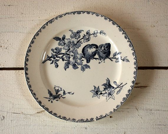 Set of 5 large plates and 1 large dish French BIRDS Plates FAVORI  Sarreguemines The most famous and most sought-after sarreguemines Pattern