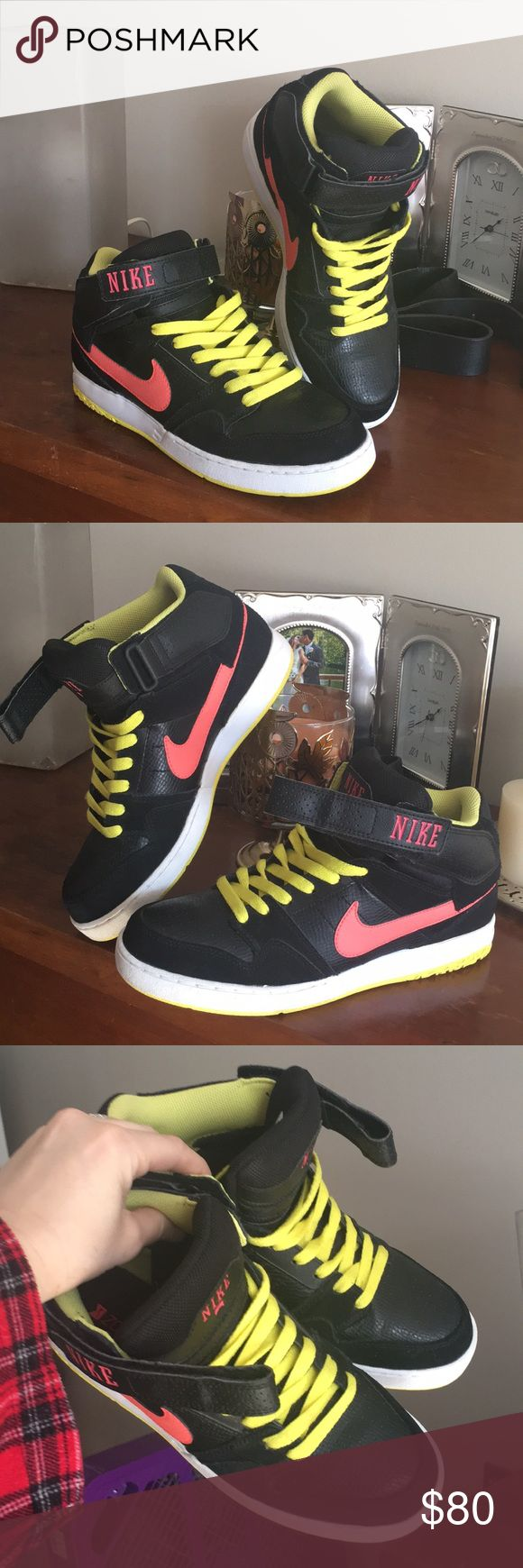 Black w/ Neon green & pink, Nike Mid Tops. 👌🏼 NWOT👌🏼👌🏼👌🏼 Size 8 in men's. 9.5 in women's. Bought thinking they were a women's size 8 by mistake 😩 Tried to wear them once, but kept falling off my feet! They're super cute! Someone should be showing them off! They've just been sitting in storage🙄 #Neon #Nike #Hightops #midtops 🤗🤗🤗 NWOT!👌🏼👌🏼👌🏼 Nike Shoes Sneakers