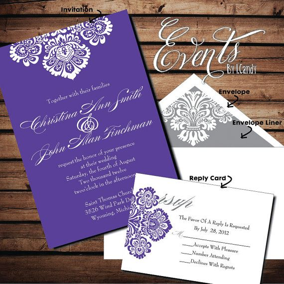 Hey, I found this really awesome Etsy listing at http://www.etsy.com/listing/125523322/wedding-invitation-sample-purple-grey