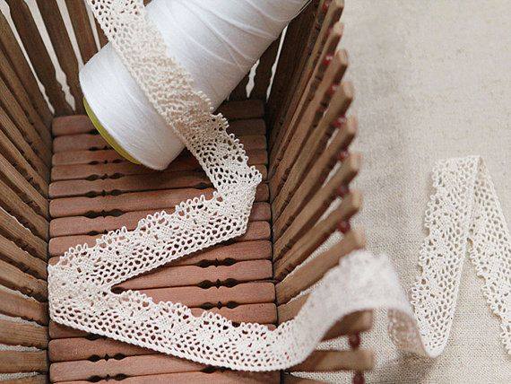 Crochet Cotton Lace Trim Unbleached Natural by HereIsTheShop. This store has the most gorgeous lace trims. I mean, tons of it. and it's all incredibly beautiful.