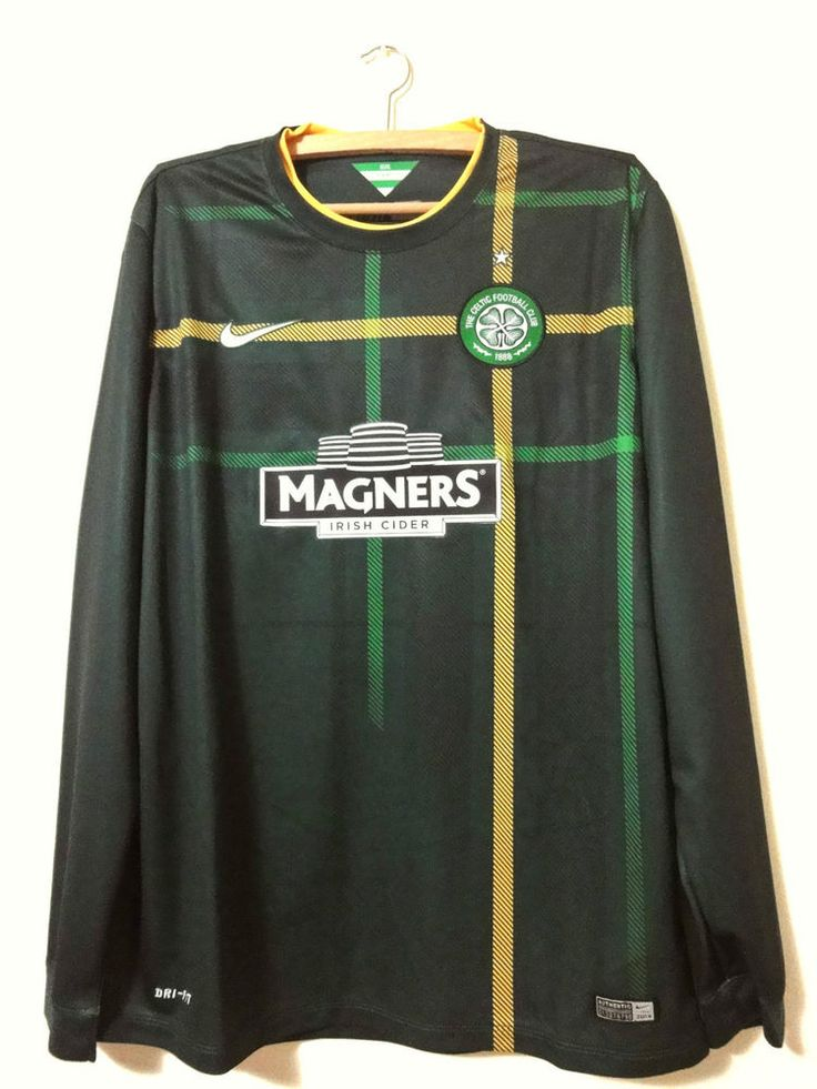 NEW Celtic Glasgow Nike green long sleeves Away shirt 2014-15