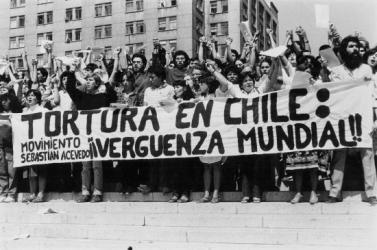Una manifestación contra la dictadura de Pinochet.