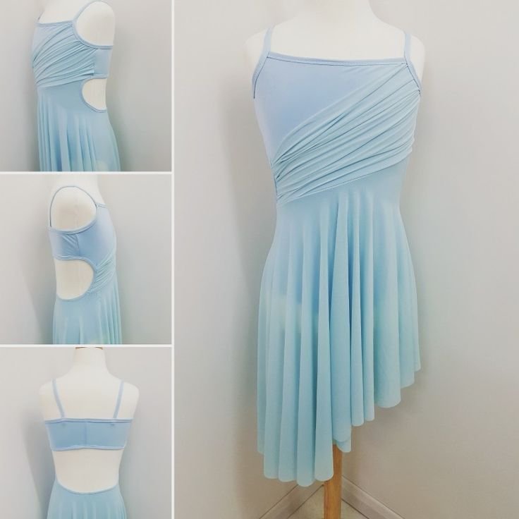 Pale blue lyrical dance costume with cut out sides. Designed and made by Figgety Jig Dancewear. #balletcustome