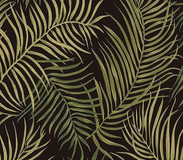 Black Tropical Palms Wallpaper - Traditional Wallpaper