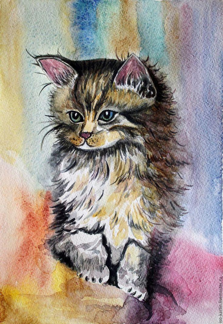 Купить Картина акварелью. Сонный котик - серый, котенок, акварельная картина, котенок акварелью, кот
