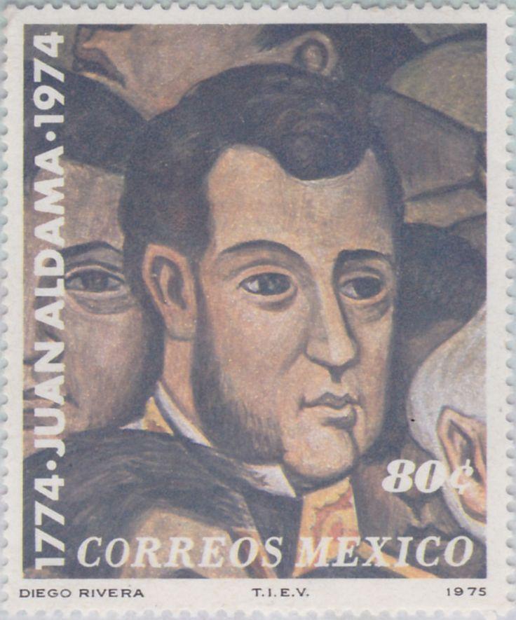 Bicentenario del natalicio del insurgente Juan Aldama (1774-1811) Juan Aldama, Pintura (fragmento) de Diego Rivera 1975 México