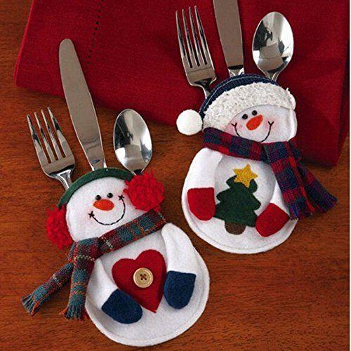Saflyse Süsse 8 Stücke Weinachten Schneemann Geschirr Bestecktasche Besteckbeutel Besteckhalter für Weihnachten (Zwei Arten von Stil Zufalls)