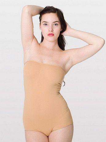 Cotton Spandex JerseyStrapless Ruched Bodysuit