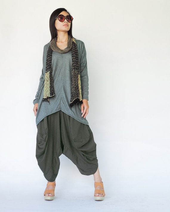 NO.126  Grey Rayon Drop Crotch Harem Pants, Asymmetrical Casual Loose Fit Capri Trousers on Etsy, $44.00