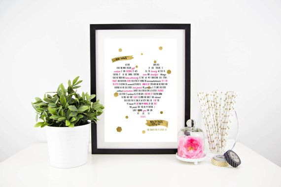 Wedding Vows / wedding blessing / personalised by lovepaperink