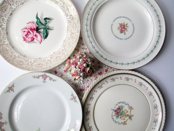 Vintage Mismatched Dinner Plates Floral Pink Blue by thechinagirl