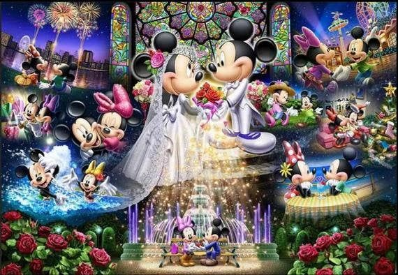 5D Diamond Painting Embroidery Minnie and Mickey Wedding  Cross Stitch Kit Disney Home Decor Full Cross Stitch Kit Home Decor Wall Painting