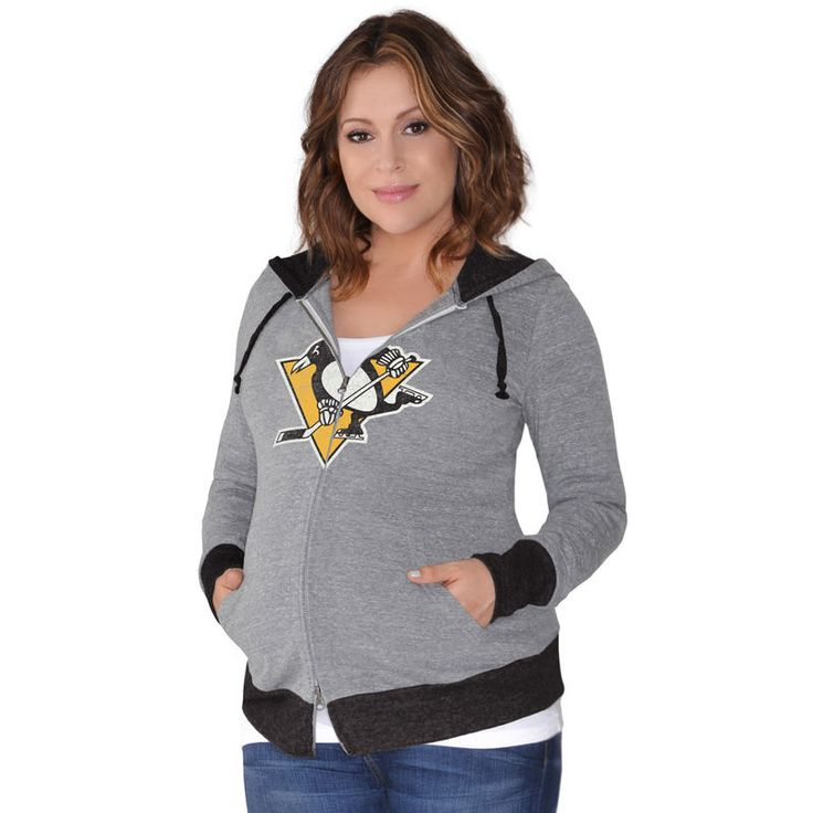 Pittsburgh Penguins Touch by Alyssa Milano Women's Maternity Hat Trick Lightweight Full-Zip Hoodie - Gray