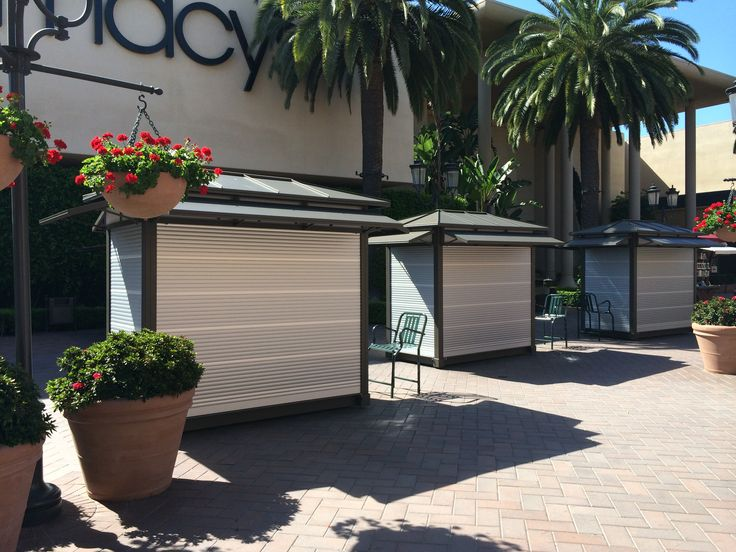 Rollok security shutters, securing retail merchandise installed in some beautiful kiosks.  Contact Rollok for security shutter solutions.