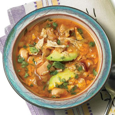 Mexican Chicken Lime Soup, but start with 1/2 chipotle and add.  We like spicy in the Macias house, but using the 2 in the recipe was agonizingly hot, even after adding milk to it.