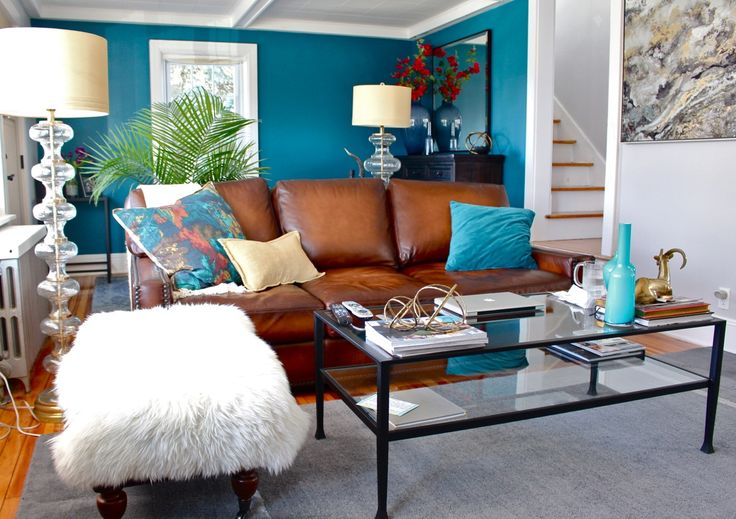 Teal living room accent wall, grey living room, brown ...