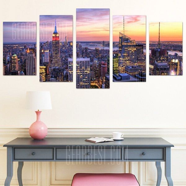 City Center PVC Print Abstract Wall Decor for Home Decoration in