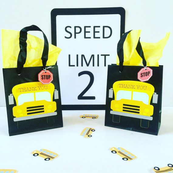 School Bus Goody Bags School Bus Party Favor Bags by Craftytude