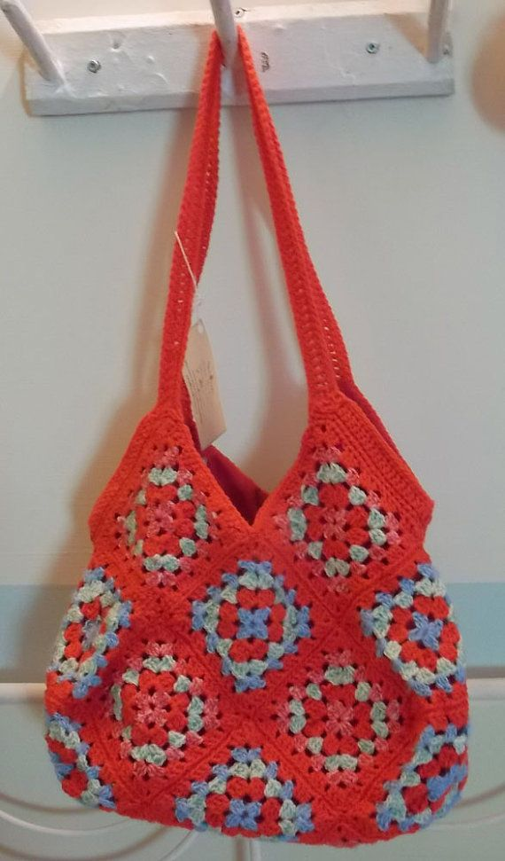Red Granny Square Bag / Crocheted Bag or Tote by StudioofHomeArts, $75.00